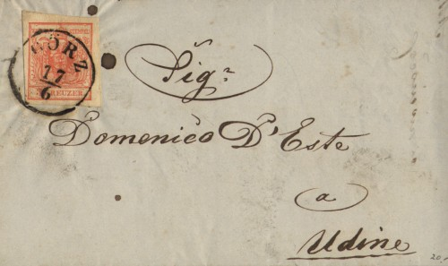 2 Kreuzer issue 1850 on cover from Gorizia