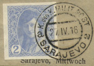 Newspaper stamp 1916, later used in Yugoslavia with different overprints